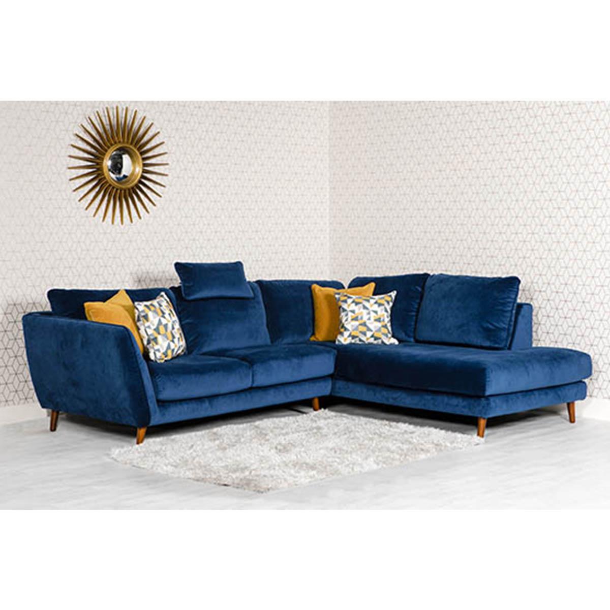 Blue Velvet Sofa With Dark Wooden Legs ⋆ AM Interiors